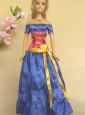 Elegant Blue Off The Shoulder Appliques Handmade Party Clothes Fashion Dress For Quinceanera Doll