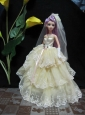 Embroidery Decorate Ball Gown Light Yellow Quinceanera Doll Dress
