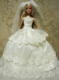 Embroidery Decorate Ball Gown Wedding Clothes Quinceanera Doll Dress