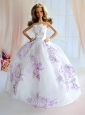 Embroidery Decorate White Taffeta Ball Gown Quinceanera Doll Dress