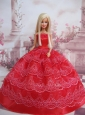 Exclusive Ball Gown Red Taffeta Quinceanera Doll Dress