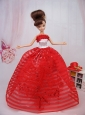Hand Made Flowers Red Ball Gown Party Clothes Quinceanera Doll Dress