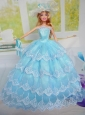 Luxurious Baby Blue Party Clothes for Noble Barbie Doll Tulle