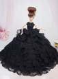 Luxurious Black Lace With Ruffled Layeres Party Dress For Quinceanera Doll
