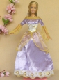 New Beautiful Lilac Long Sleeves Handmade Party Clothes Fashion Dress For Quinceanera Doll