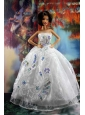 Perfect Embroidery And Sequin For White Holiday Dress To Quinceanera Doll