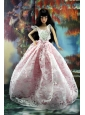 Pink And White Lace Over Skirt To Quinceanera Doll Dress