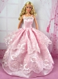 Pretty Pink Party Clothes Lace Fashion Dress For Quinceanera Doll