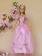 Sweet Rose Pink Short Sleeves Handmade Party Clothes Fashion Dress For Quinceanera Doll