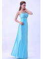 Aqua Blue Beaded Prom Dress For Custom Made Taffeta Strapless