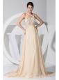 Asymmetrical Beading Decorate Bodice Champagne Chiffon Brush Train Prom Dress For 2013