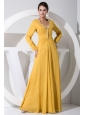 Beading Decorate Bodice Gold Chiffon Floor-length Long Sleeves Mother Of The Bride Dress For 2013
