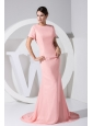 Beading Decorate Scoop Neckline Brush Train  Light Pink Chiffon 2013 Prom Dress