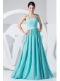 Beading Decorate Waist Aqua Blue Empire 2013 Prom Dress For Formal Evening