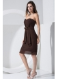 Brown Prom Dress With Sweetheart Bowknot Knee-length Chiffon