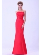 Coral Red Mermaid Prom Dress Strapless With Brush Train For Custom Made