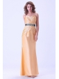 Gold Mermaid Prom Dress With Belt and Ruching Floor-length