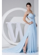 High Slit Light Blue Chiffon Brush Train Prom Dress For 2013 Ruching V-neck