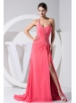 High Slit One Shoulder Beading Decorate Bodice Brush Train Watermelon Red 2013 Prom Dress