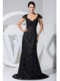 Lace With Beading Scoop Brush Train Cap Sleeves Column 2013 Prom Dress For Formal Evening