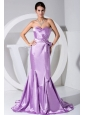 Lavender Taffeta Sweetheart Neckline Bowknot Mermaid Brush Train Prom Dress