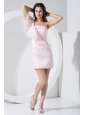 Light Pink Prom Dress Column One Shoulder Mini-length For Club