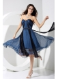 Pleat Blue and Black Sweetheart Neckline Tea-length Organza 2013 Prom Dress
