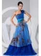 Printing Hand Made Flower Decorate Bodice Blue Tulle Brush Train Prom Dress For 2013