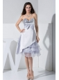 Sequin Bowknot Ruffled Decorate Bodice Sweetheart Neckline Grey Tea-length Prom Dress