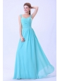 Straps Ruched For 2013 Aqua Blue Prom Dress Chiffon