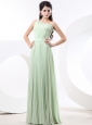 Apple Green Empire Prom Dress With Pleat Chiffon One Shoulder For 2013 Custom Made