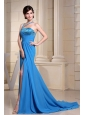 Asymmetrical Neckline and Beading For Prom Dress With High Slit