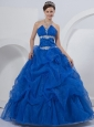 Ball Gown Strapless Floor-length Quinceanera Dress Royal Blue Organza Beading and Hand Made Flowers