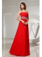 Beaded Decorate One Shoulder and Waist Red Prom Dress