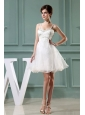 Beaded Decorate Organza Shoulder Mini-length Straps A-Line Prom Dress