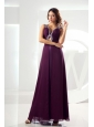 Beading Empire Chiffon Prom Dress V-neck Ankle-length Purple