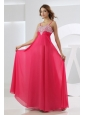 Beading Empire Chiffon Straps Floor-length Prom Dress Hot Pink