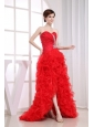 Beading Mermaid Sweetheart Prom Dress Organza High-low Red