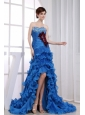 Beading Mermaid Sweetheart Prom Dress Organza High-low Royal Blue