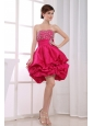 Beading Mini-length A-Line Strapless Taffeta Prom Dress Hot Pink