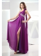 Beading Prom Dress Chiffon Fuchsia Empire Watteau One Shoulder High Slit