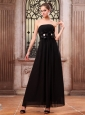 Black Prom Dress With Ankle-length Chiffon Hand Made Flower