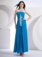 Blue Prom Dress With Appliques Ankle-length Chiffon For Custom Made
