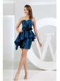 Column Sweetheart Taffeta Mini-length Sashes / Ribbons Blue Prom Dress