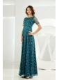 Empire Scoop Tulle Embroidery Ankle-length Prom Dress Teal