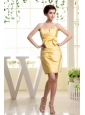 Gold and Bow For Prom Dress With Strapless and Mini-length