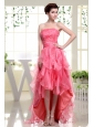 High-low Coral Red Prom Dress With Beading Rufflers Layers