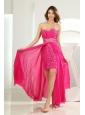 High Slit Empire Chiffon Beading Floor-length Sweetheart Prom Dress Hot Pink