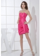 Hot Pink Sweetheart Neckline Mini-length Column Ruching 2013 Prom Dress