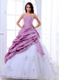 Lavender and White Quinceanera Dress Appliques and Pick-ups 2013  With Floor-length